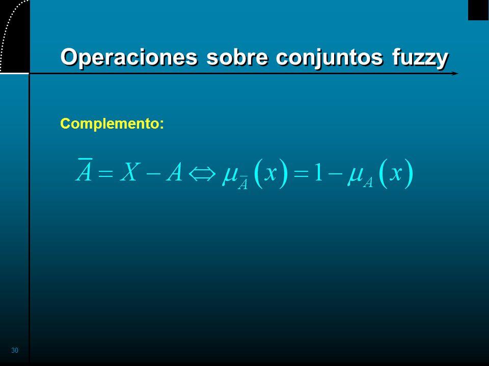 30 Operaciones sobre conjuntos fuzzy Complemento: