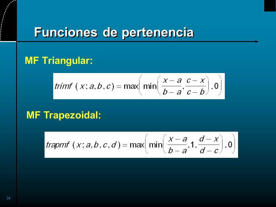 34 Funciones de pertenencia MF Triangular: MF Trapezoidal: