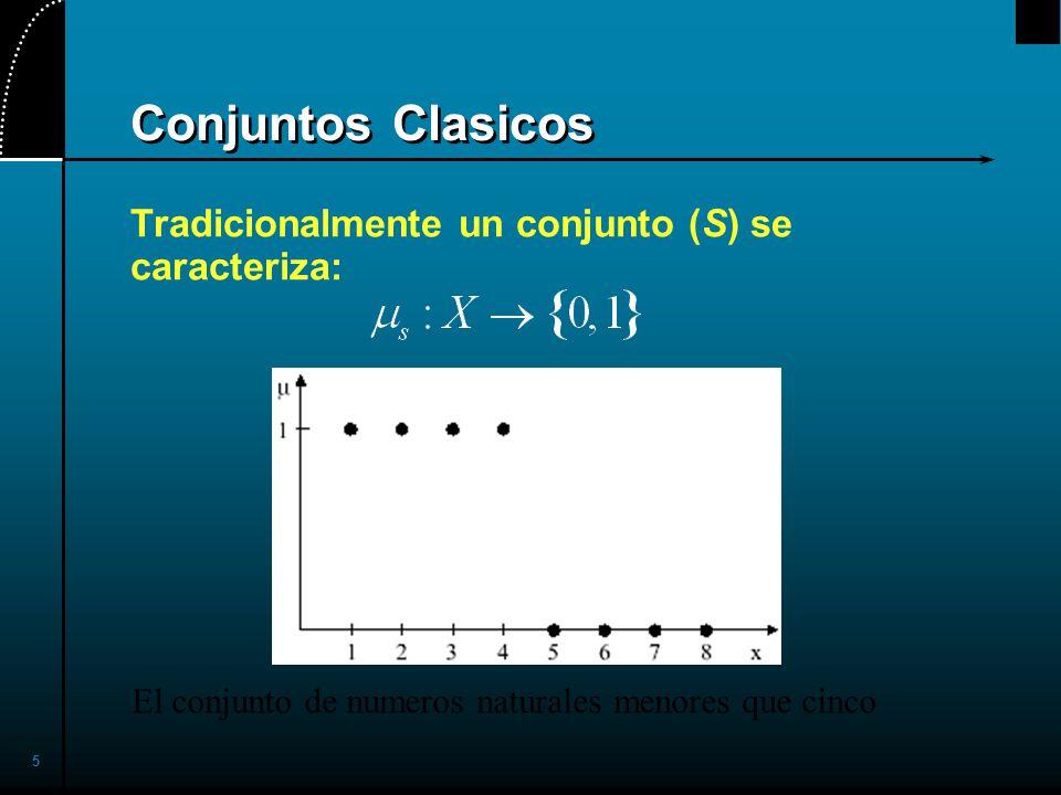 16 Notacion Alternativa Alternativamente un conjunto fuzzy A puede ser denotado como sigue: X es discreto X es continuo Note que los signos e integral establecen la union de los grados de pertenencia; el signo / es un marcador y no implica division.