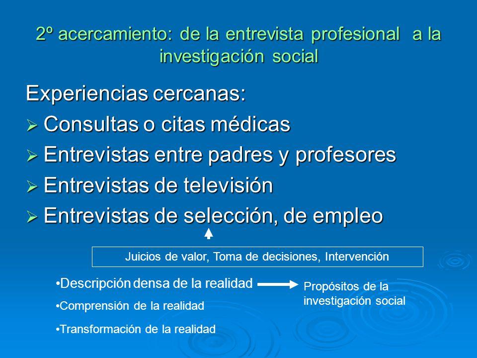 2º acercamiento: de la entrevista profesional a la investigación social Experiencias cercanas: Consultas o citas médicas Consultas o citas médicas Ent