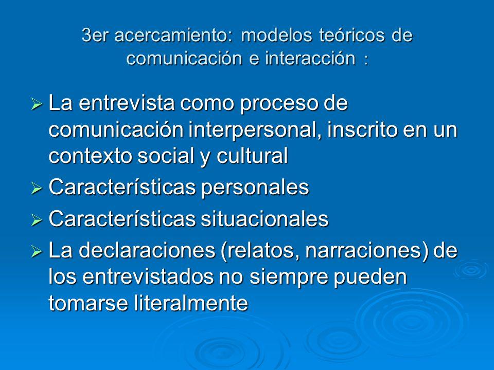 3er acercamiento: modelos teóricos de comunicación e interacción : La entrevista como proceso de comunicación interpersonal, inscrito en un contexto s