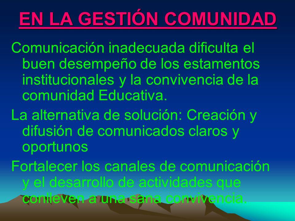 EN LA GESTIÓN COMUNIDAD Comunicación inadecuada dificulta el buen desempeño de los estamentos institucionales y la convivencia de la comunidad Educati