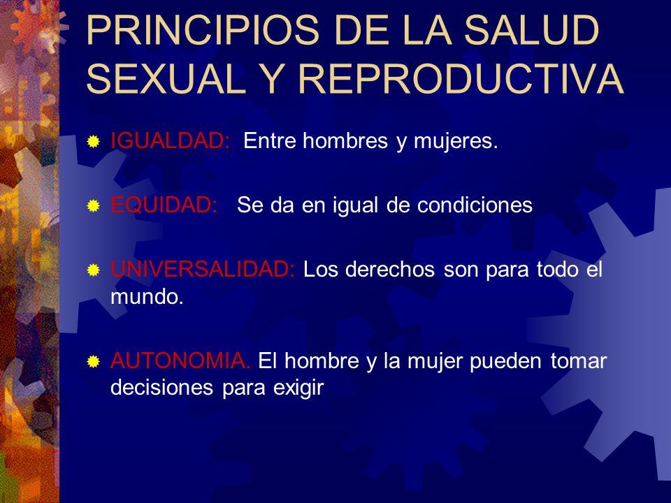 PRINCIPIOS DE LA SALUD SEXUAL Y REPRODUCTIVA IGUALDAD: Entre hombres y mujeres. EQUIDAD: Se da en igual de condiciones UNIVERSALIDAD: Los derechos son