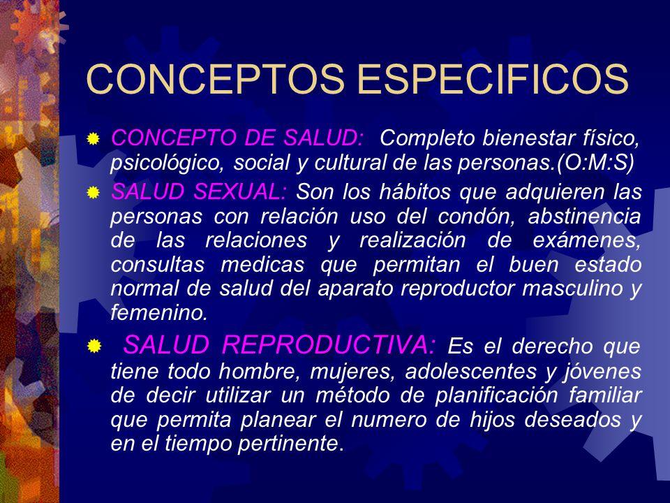 CONCEPTOS ESPECIFICOS CONCEPTO DE SALUD: Completo bienestar físico, psicológico, social y cultural de las personas.(O:M:S) SALUD SEXUAL: Son los hábit