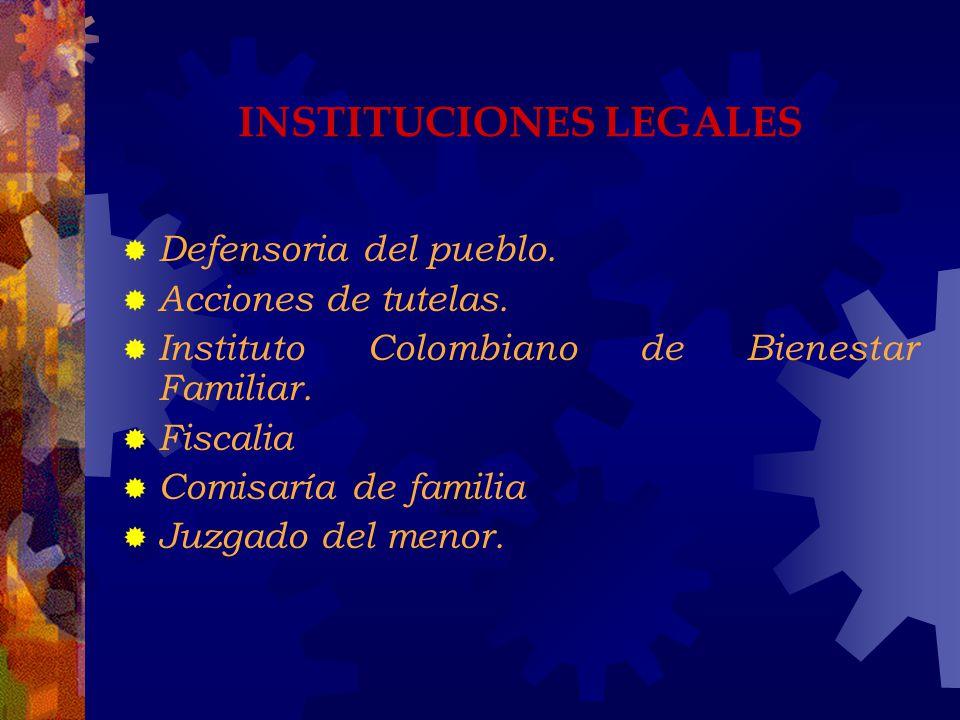INSTITUCIONES LEGALES Defensoria del pueblo. Acciones de tutelas. Instituto Colombiano de Bienestar Familiar. Fiscalia Comisaría de familia Juzgado de