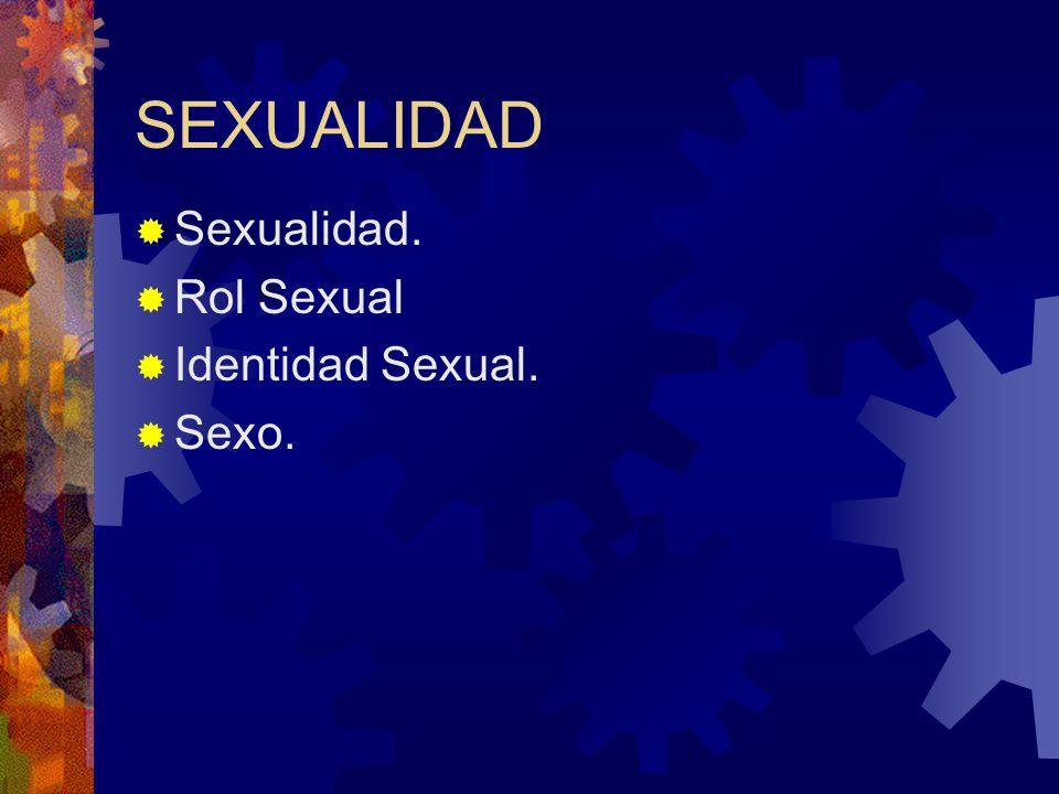 SEXUALIDAD Sexualidad. Rol Sexual Identidad Sexual. Sexo.