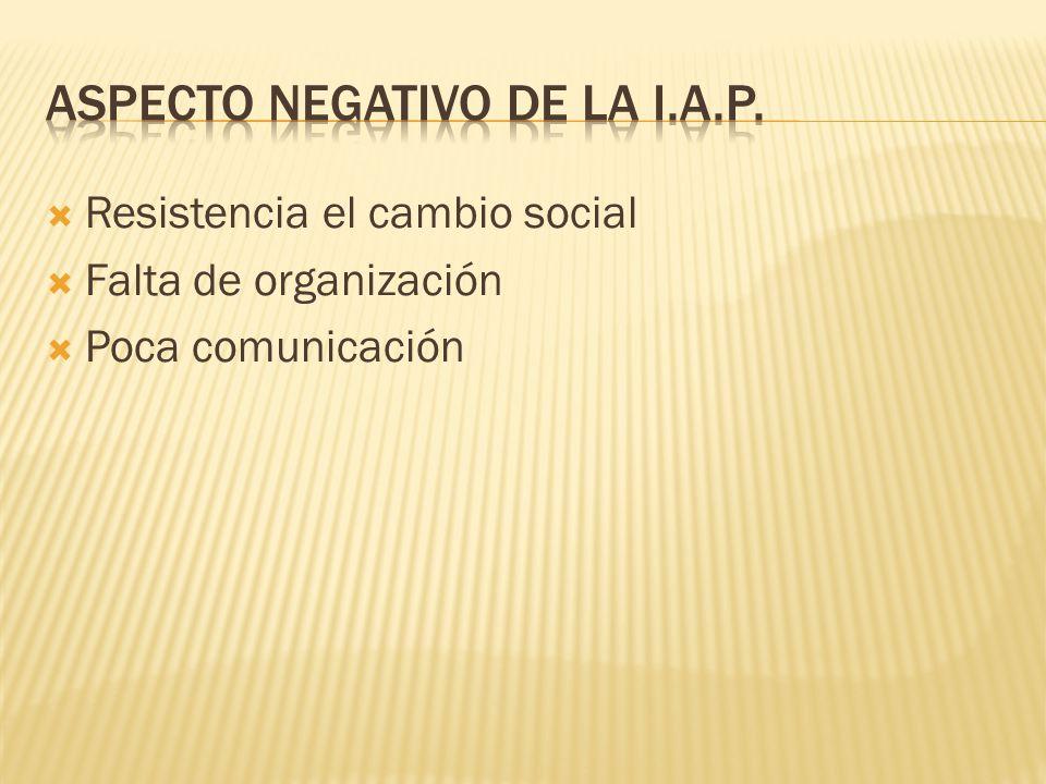 Resistencia el cambio social Falta de organización Poca comunicación