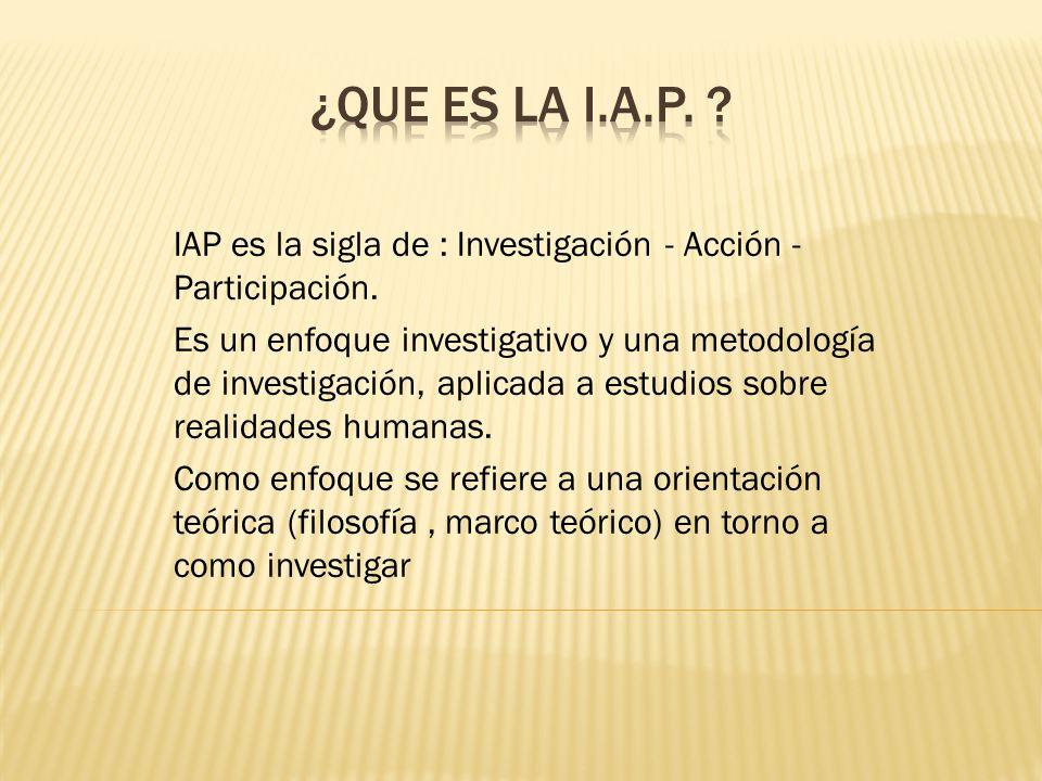 IAP es la sigla de : Investigación - Acción - Participación.