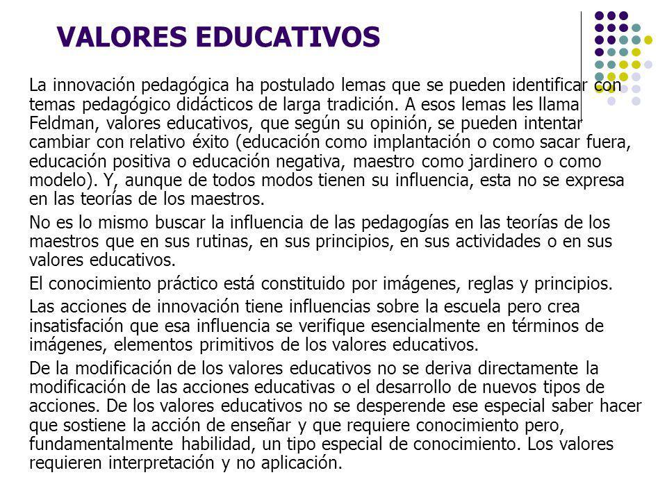 VALORES EDUCATIVOS La innovación pedagógica ha postulado lemas que se pueden identificar con temas pedagógico didácticos de larga tradición. A esos le