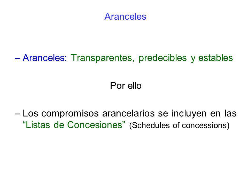 Aranceles –Aranceles: Transparentes, predecibles y estables Por ello –Los compromisos arancelarios se incluyen en las Listas de Concesiones (Schedules