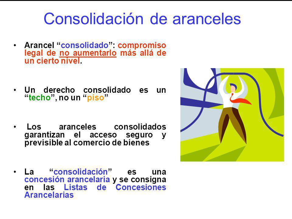 Consolidación de aranceles Arancel consolidado: compromiso legal de no aumentarlo más allá de un cierto nivel. Un derecho consolidado es untecho, no u