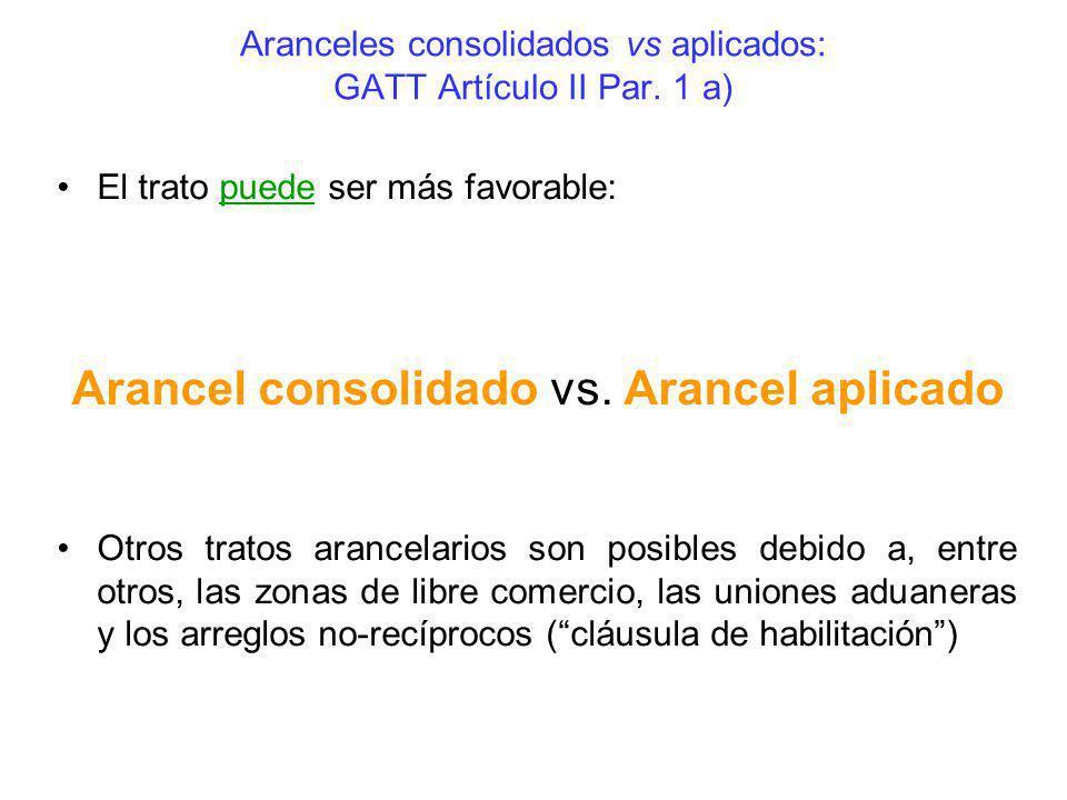 Aranceles consolidados vs aplicados: GATT Artículo II Par. 1 a) El trato puede ser más favorable: Arancel consolidado vs. Arancel aplicado Otros trato