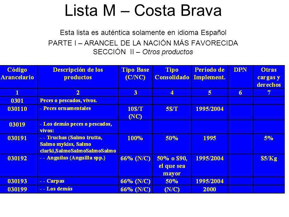 Lista M – Costa Brava Esta lista es auténtica solamente en idioma Español PARTE I – ARANCEL DE LA NACIÓN MÁS FAVORECIDA SECCIÓN II – Otros productos