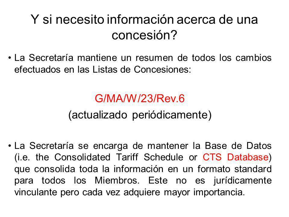 Y si necesito información acerca de una concesión? La Secretaría mantiene un resumen de todos los cambios efectuados en las Listas de Concesiones: G/M