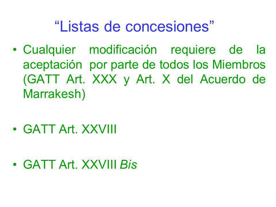 Listas de concesiones Cualquier modificación requiere de la aceptación por parte de todos los Miembros (GATT Art. XXX y Art. X del Acuerdo de Marrakes