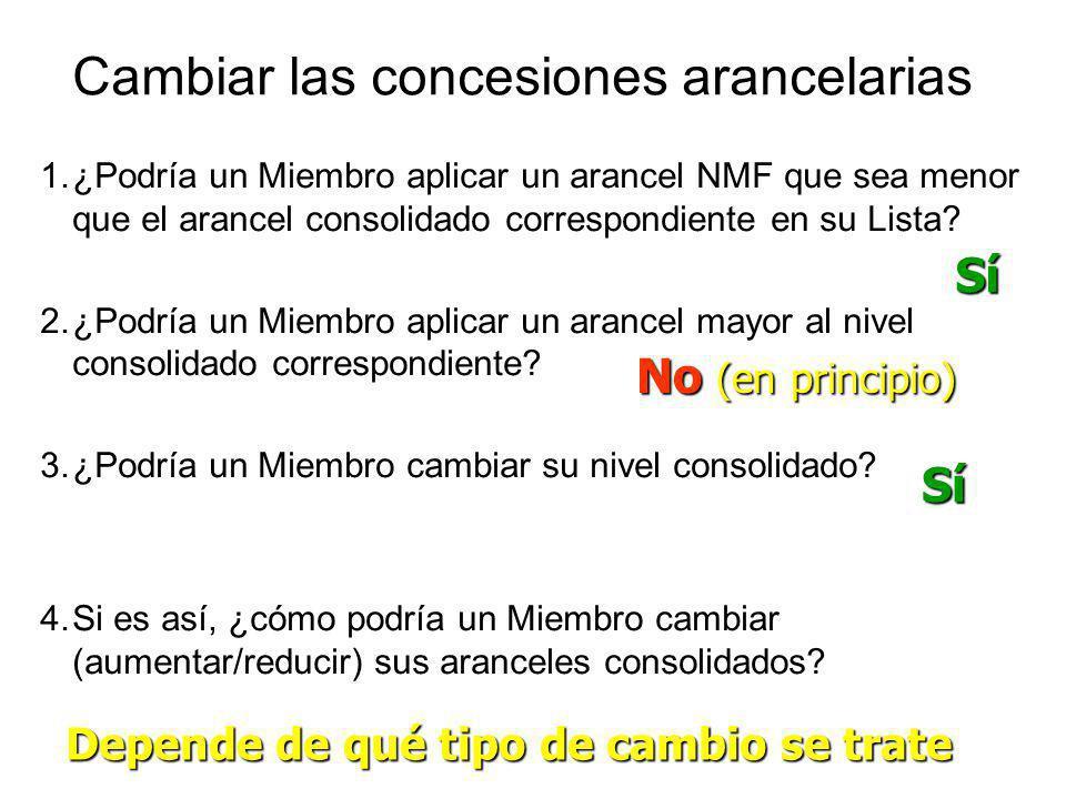 Cambiar las concesiones arancelarias 1.¿Podría un Miembro aplicar un arancel NMF que sea menor que el arancel consolidado correspondiente en su Lista?