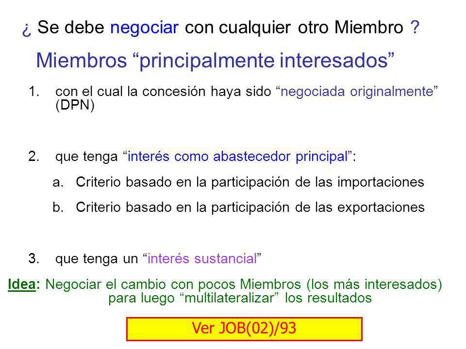 ¿ Se debe negociar con cualquier otro Miembro ? Miembros principalmente interesados 1.con el cual la concesión haya sido negociada originalmente (DPN)