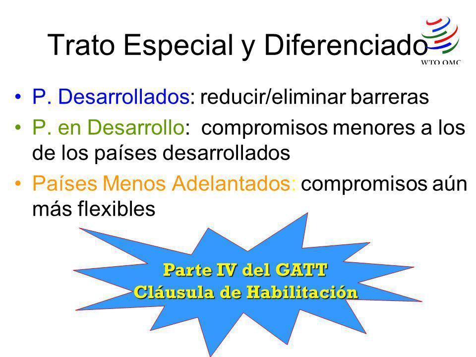 Trato Especial y Diferenciado P. Desarrollados: reducir/eliminar barreras P. en Desarrollo: compromisos menores a los de los países desarrollados País
