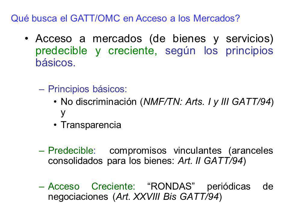 Acceso a mercados (de bienes y servicios) predecible y creciente, según los principios básicos. –Principios básicos: No discriminación (NMF/TN: Arts.