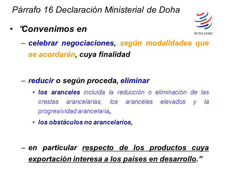 Párrafo 16 Declaración Ministerial de Doha Convenimos en –celebrar negociaciones, según modalidades que se acordarán, cuya finalidad –reducir o según