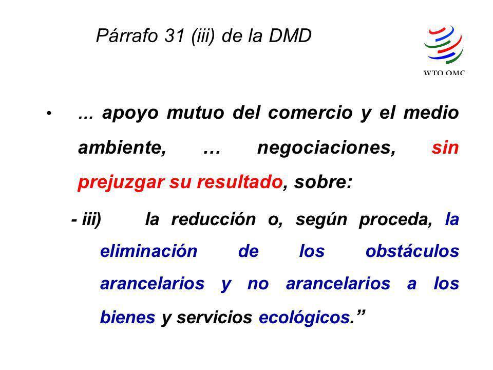 Párrafo 31 (iii) de la DMD … apoyo mutuo del comercio y el medio ambiente, … negociaciones, sin prejuzgar su resultado, sobre: - iii)la reducción o, s