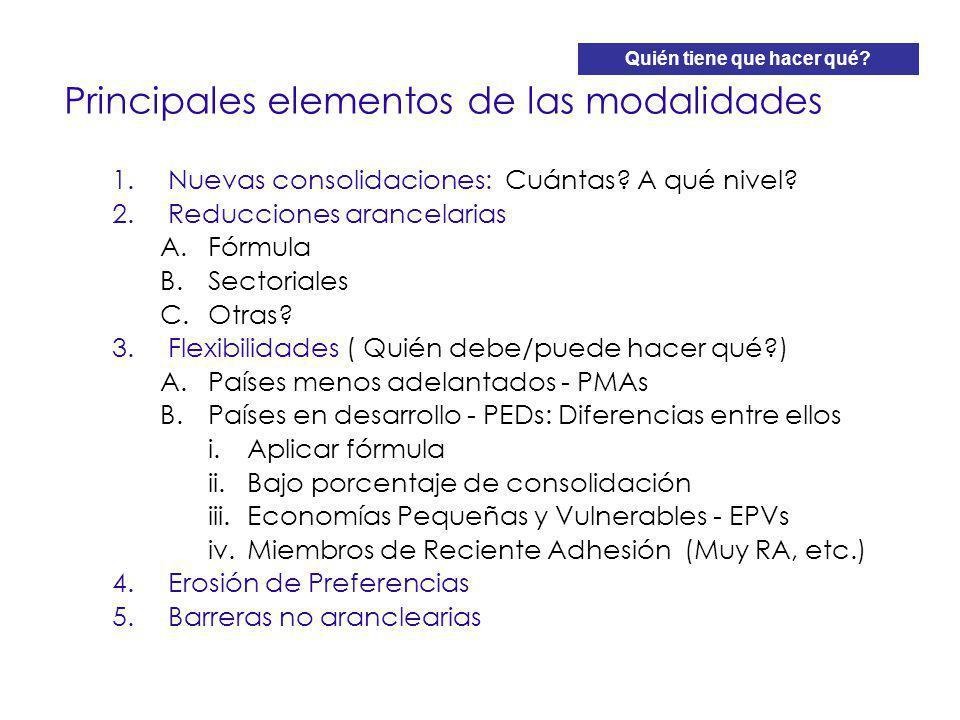 Principales elementos de las modalidades 1.Nuevas consolidaciones: Cuántas? A qué nivel? 2.Reducciones arancelarias A.Fórmula B.Sectoriales C.Otras? 3