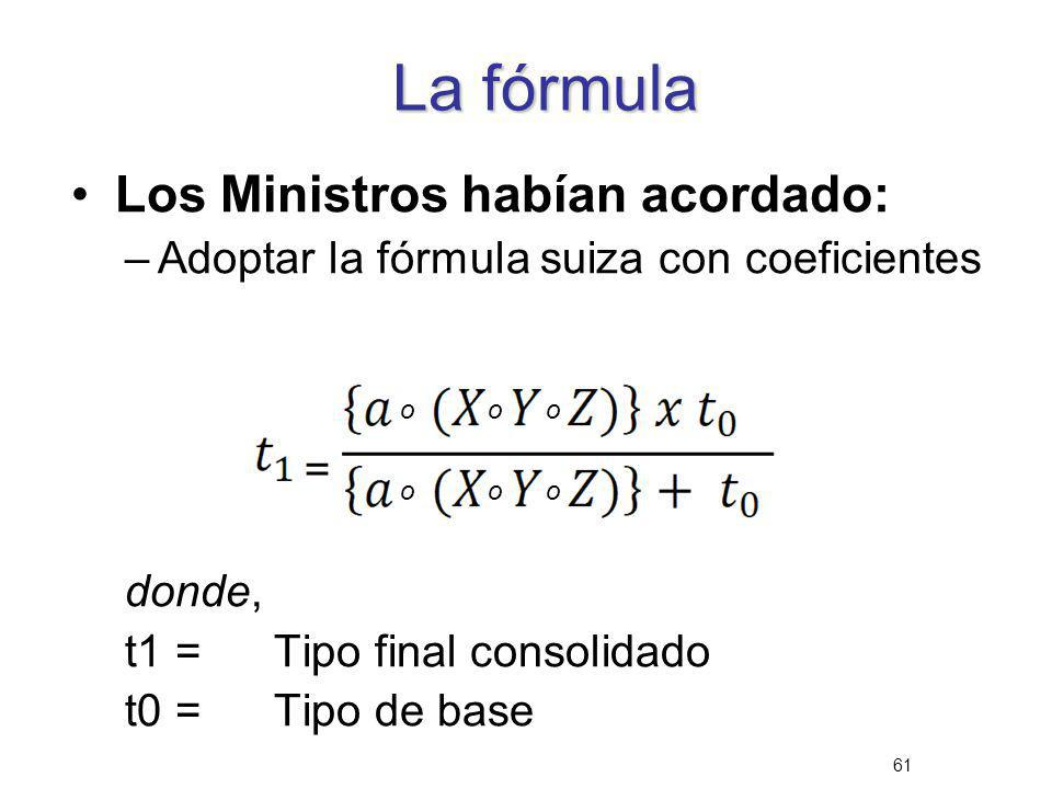 61 La fórmula Los Ministros habían acordado: –Adoptar la fórmula suiza con coeficientes donde, t1 =Tipo final consolidado t0 =Tipo de base o o o