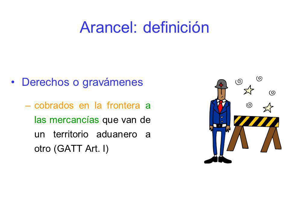 Arancel: definición Derechos o gravámenes –cobrados en la frontera a las mercancías que van de un territorio aduanero a otro (GATT Art. I)