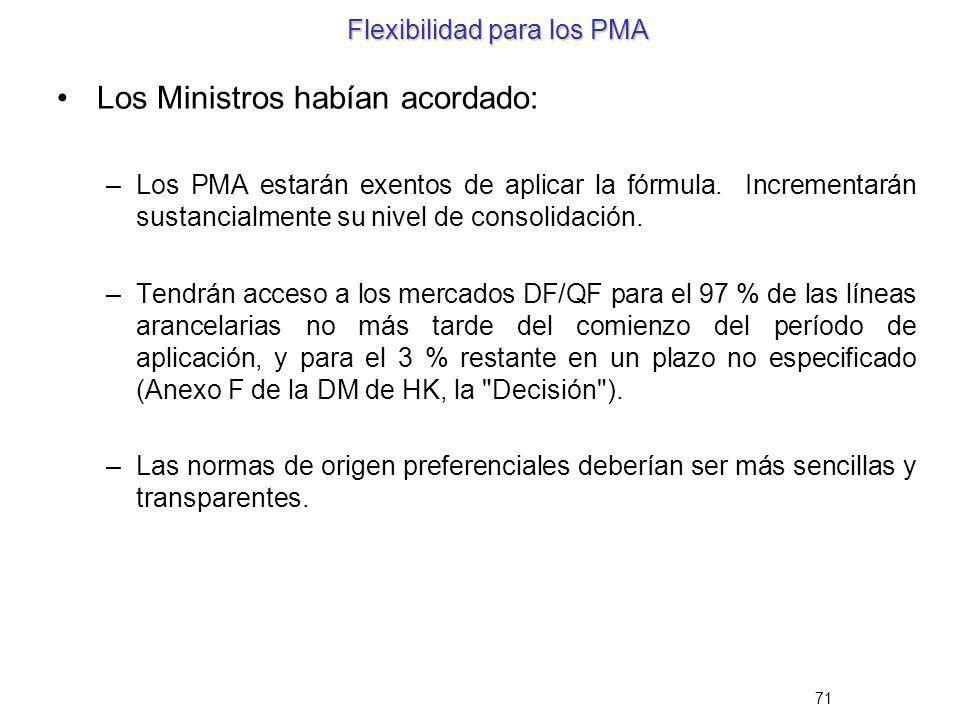 71 Flexibilidad para los PMA Los Ministros habían acordado: –Los PMA estarán exentos de aplicar la fórmula. Incrementarán sustancialmente su nivel de