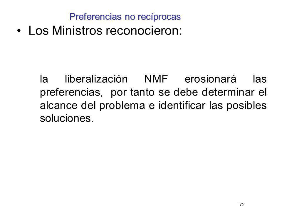 72 Preferencias no recíprocas Los Ministros reconocieron: la liberalización NMF erosionará las preferencias, por tanto se debe determinar el alcance d
