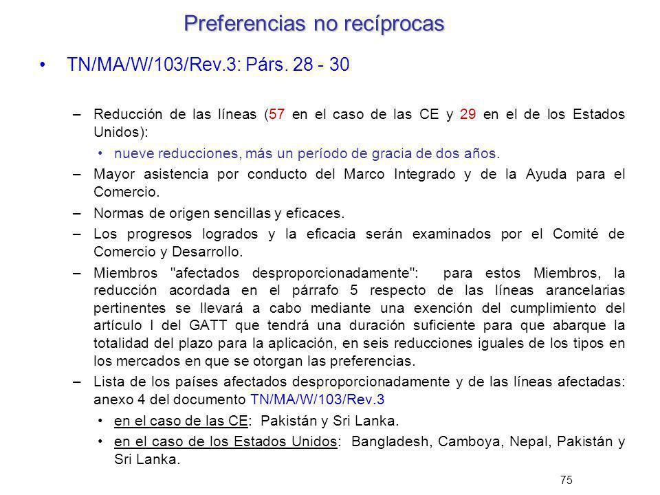 75 Preferencias no recíprocas TN/MA/W/103/Rev.3: Párs. 28 - 30 –Reducción de las líneas (57 en el caso de las CE y 29 en el de los Estados Unidos): nu