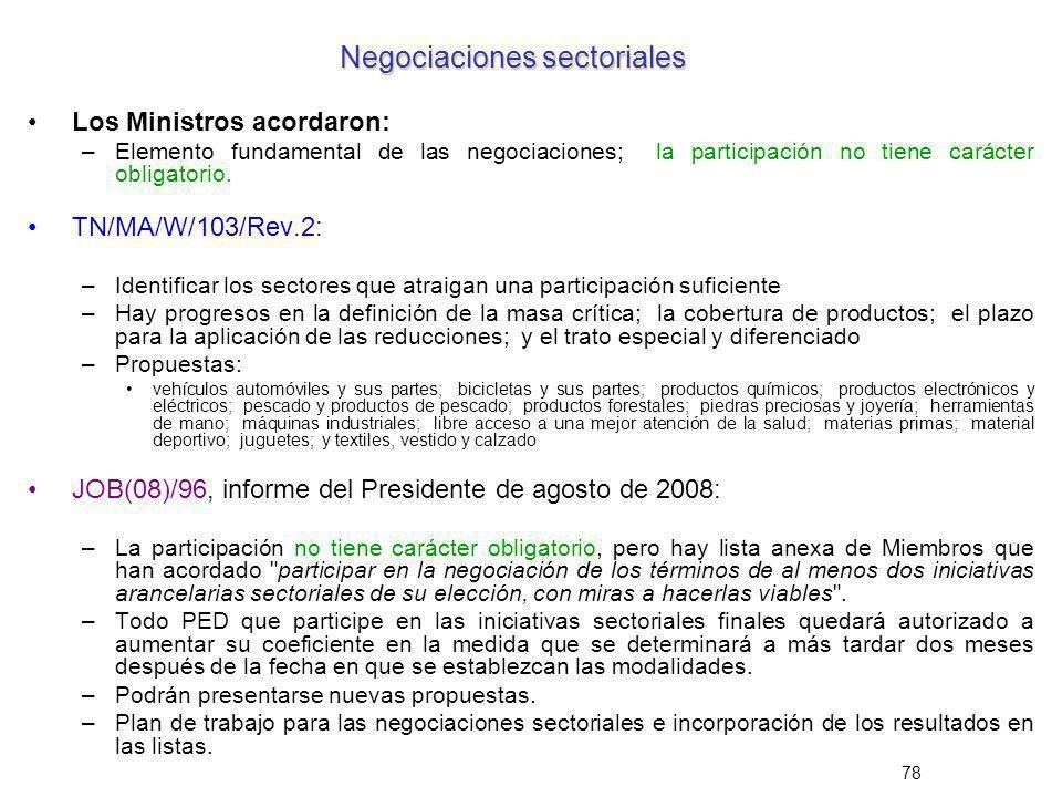 78 Negociaciones sectoriales Los Ministros acordaron: –Elemento fundamental de las negociaciones; la participación no tiene carácter obligatorio. TN/M