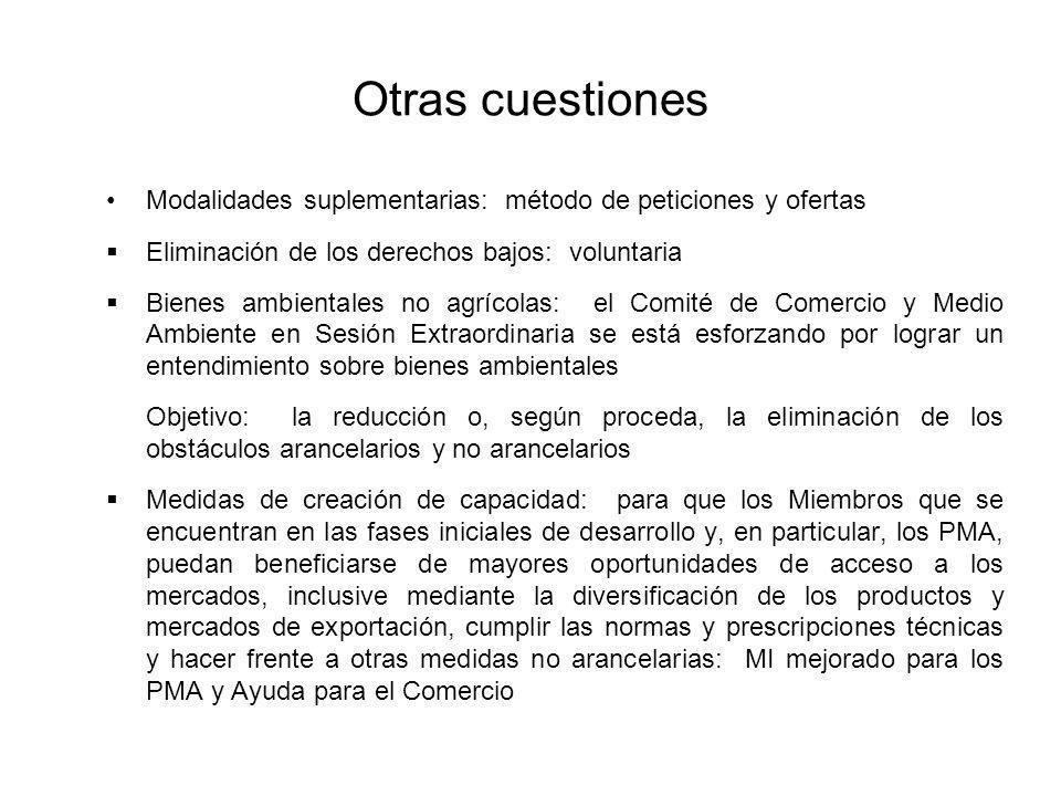 Otras cuestiones Modalidades suplementarias: método de peticiones y ofertas Eliminación de los derechos bajos: voluntaria Bienes ambientales no agríco