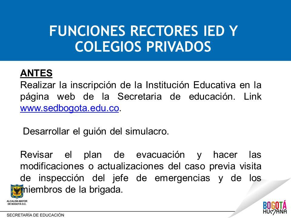 ANTES Realizar la inscripción de la Institución Educativa en la página web de la Secretaria de educación.