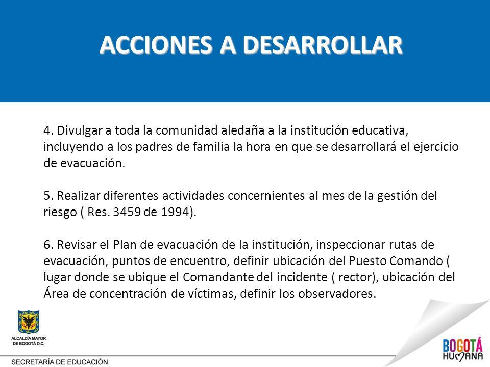 ACCIONES A DESARROLLAR 4.