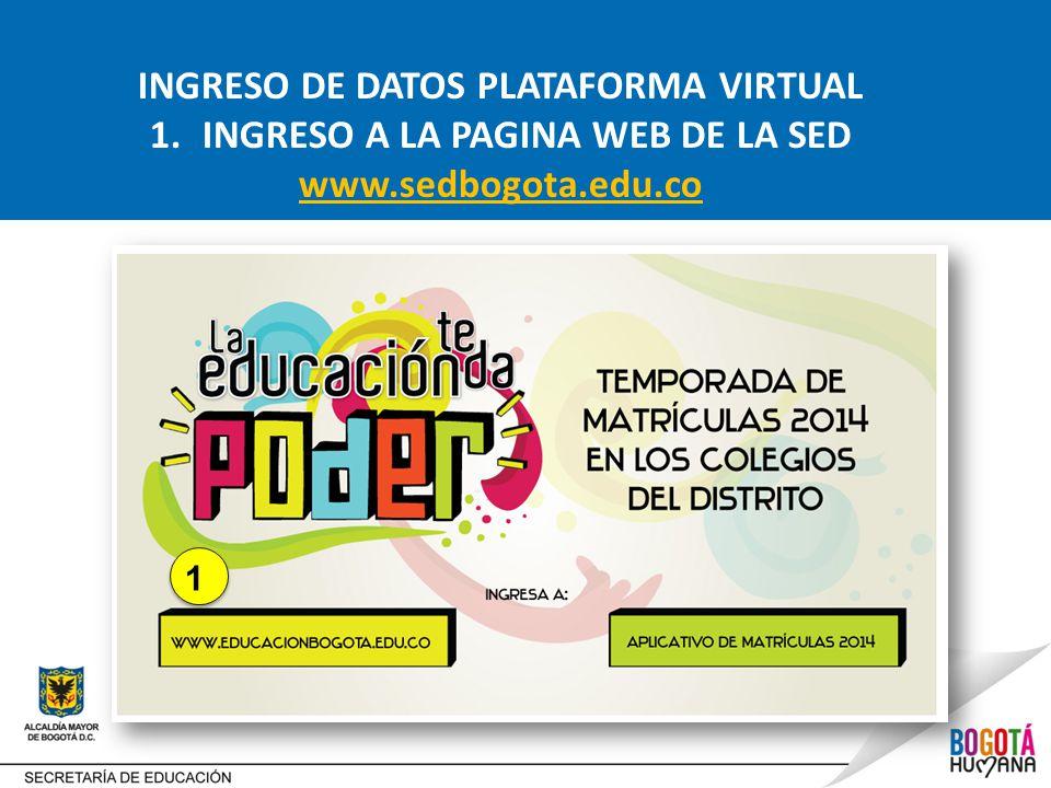 INGRESO DE DATOS PLATAFORMA VIRTUAL 1.INGRESO A LA PAGINA WEB DE LA SED www.sedbogota.edu.co 1