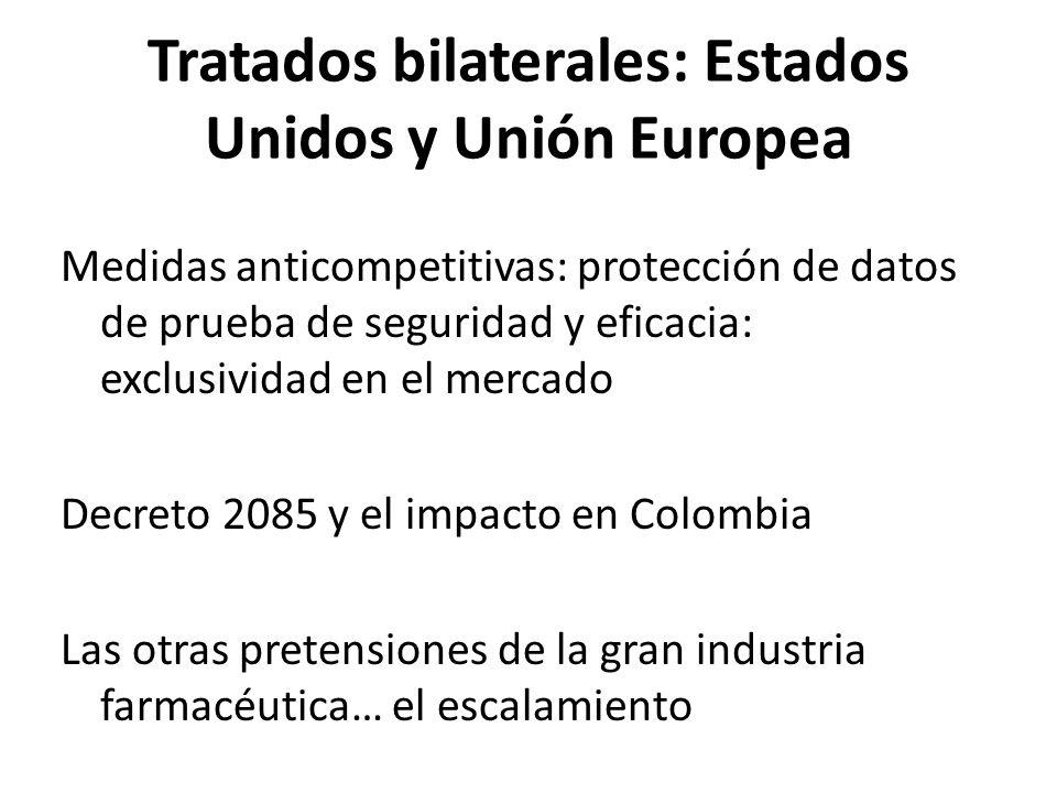 Tratados bilaterales: Estados Unidos y Unión Europea Medidas anticompetitivas: protección de datos de prueba de seguridad y eficacia: exclusividad en
