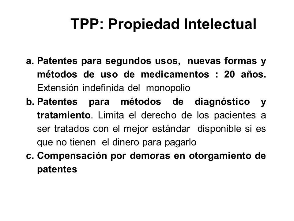 TPP: Propiedad Intelectual a.Patentes para segundos usos, nuevas formas y métodos de uso de medicamentos : 20 años. Extensión indefinida del monopolio