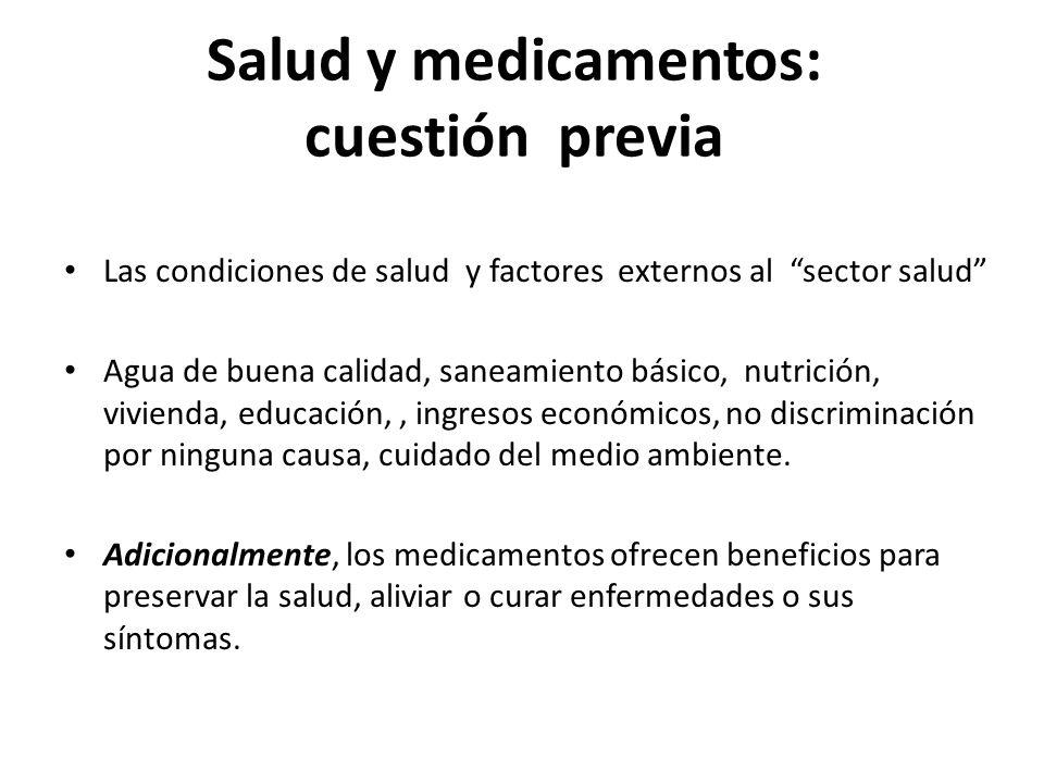 Salud y medicamentos: cuestión previa Las condiciones de salud y factores externos al sector salud Agua de buena calidad, saneamiento básico, nutrició
