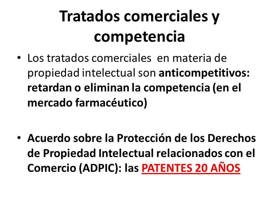 Tratados comerciales y competencia Los tratados comerciales en materia de propiedad intelectual son anticompetitivos: retardan o eliminan la competenc