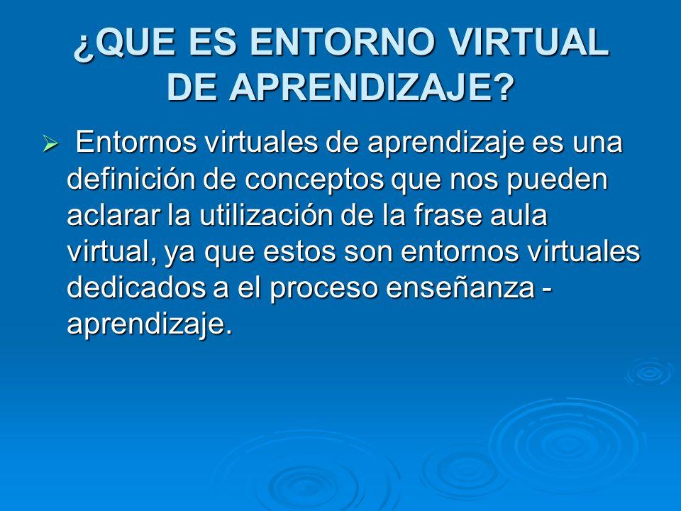 ¿QUE ES ENTORNO VIRTUAL DE APRENDIZAJE? E Entornos virtuales de aprendizaje es una definición de conceptos que nos pueden aclarar la utilización de la