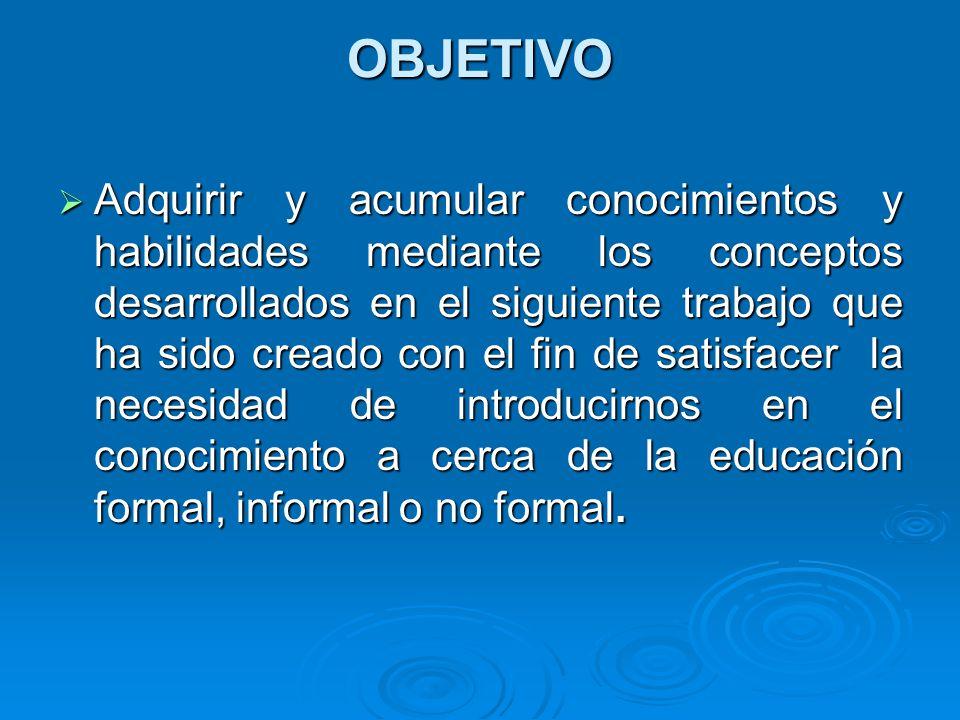 EDUCACIÓN NO FORMAL La educación no formal responde, entonces, al conjunto de procesos, medios e instituciones específicas, y diseñadas en función de objetivos de formación e instrucción que no tienen directa vinculación a sistema educativo reglado y oficial.