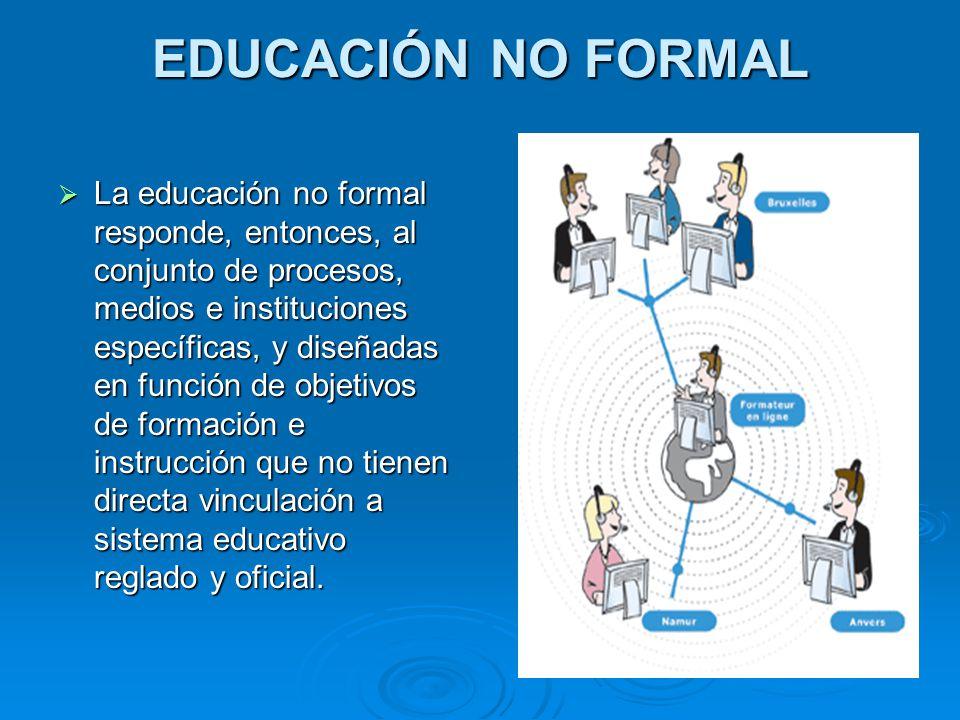 EDUCACIÓN NO FORMAL La educación no formal responde, entonces, al conjunto de procesos, medios e instituciones específicas, y diseñadas en función de
