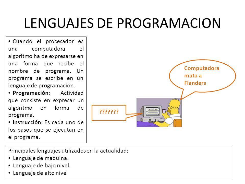 LENGUAJES DE PROGRAMACION Cuando el procesador es una computadora el algoritmo ha de expresarse en una forma que recibe el nombre de programa. Un prog
