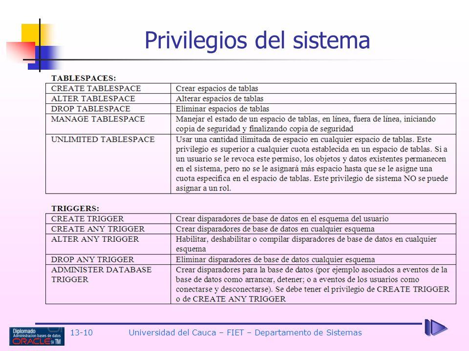 13-10 Universidad del Cauca – FIET – Departamento de Sistemas Privilegios del sistema