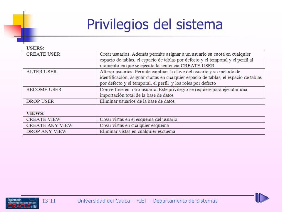 13-11 Universidad del Cauca – FIET – Departamento de Sistemas Privilegios del sistema