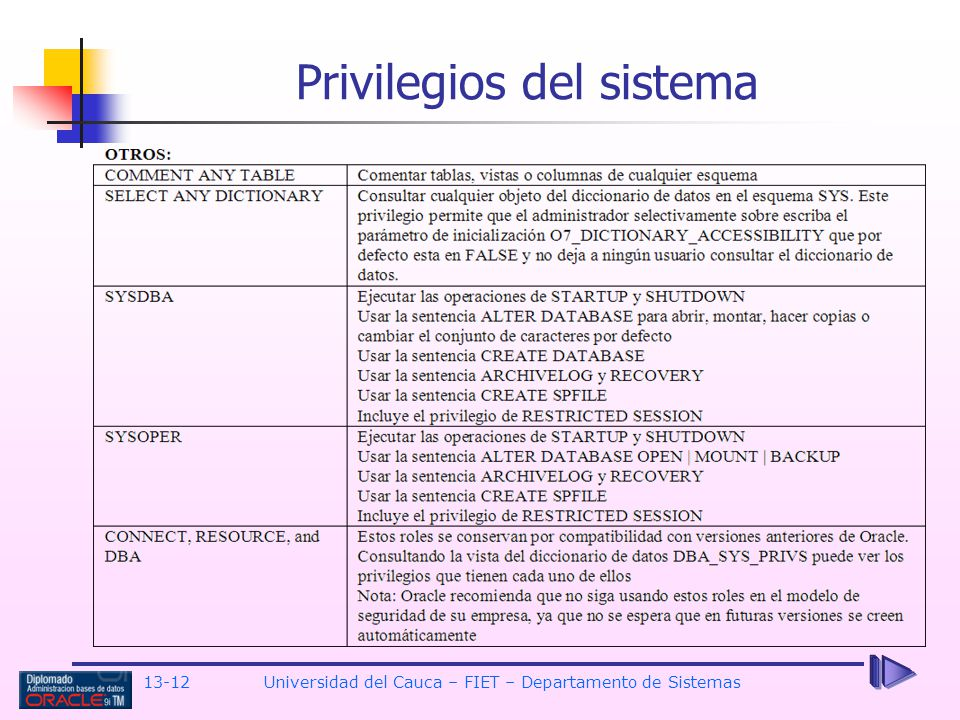 13-12 Universidad del Cauca – FIET – Departamento de Sistemas Privilegios del sistema