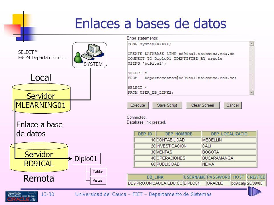 13-30 Universidad del Cauca – FIET – Departamento de Sistemas Enlaces a bases de datos Servidor MLEARNING01 Servidor BD9ICAL Diplo01 Tablas Vistas Remota Local SYSTEM Enlace a base de datos SELECT * FROM Departamentos …