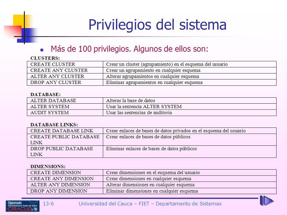 13-6 Universidad del Cauca – FIET – Departamento de Sistemas Privilegios del sistema Más de 100 privilegios.