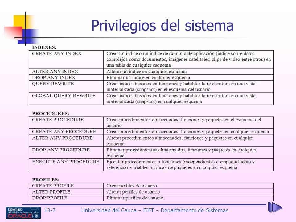 13-7 Universidad del Cauca – FIET – Departamento de Sistemas Privilegios del sistema